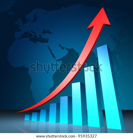 Business Graph with arrow showing profits and gains - stock photo