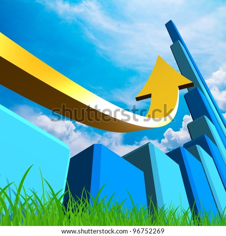 Business Graph with arrow showing profits on blue sky - stock photo