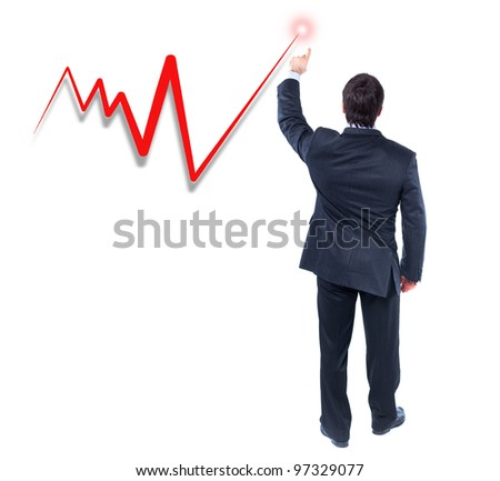 business graph with business man pushing it up - isolated