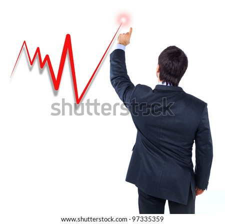 business graph with business man pushing it up - isolated - stock photo