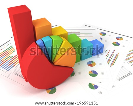 Business graph with chart - stock photo