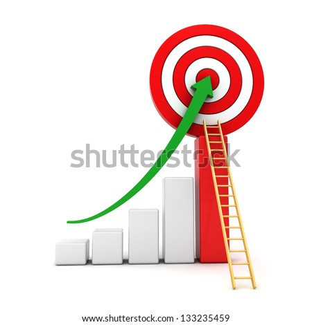 Business graph with green rising arrow moving up to the center of red target with wood ladder concept isolated over white background - stock photo