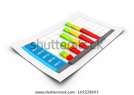 Business graph with growth chart - stock photo