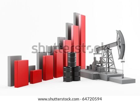 Business Graph with oil pump - stock photo