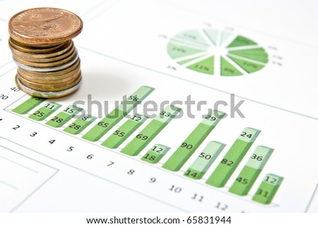 Business graph with one stack of coins. Studio shot - stock photo