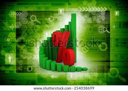 Business graph with percentage - stock photo