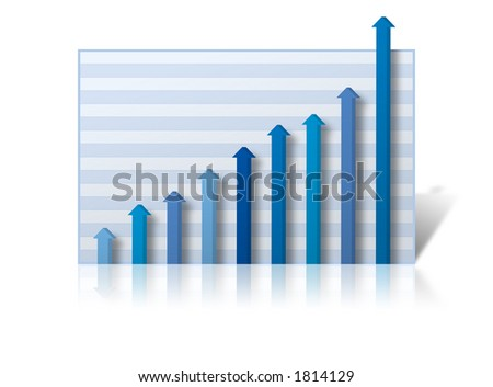 Business Graph with profits rising off the chart. Graph on a white reflective background - stock photo