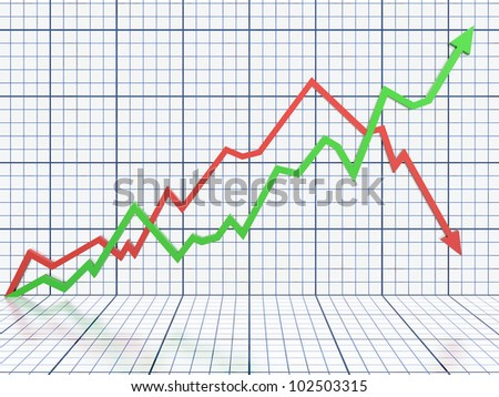 Business graph with red and green arrow - stock photo
