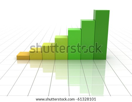 Business graph with reflective grid floor - stock photo