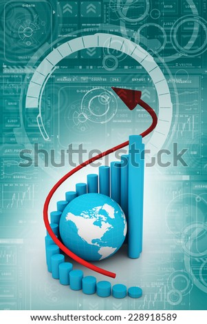 Business graph with rising arrow  - stock photo