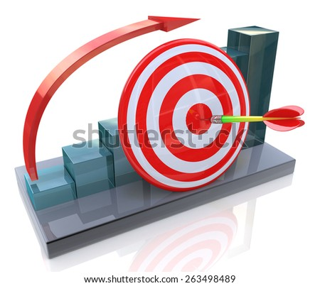 Business graph with rising arrow and red target  - stock photo