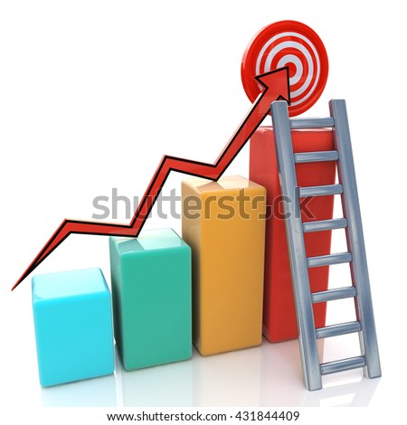 Business graph with rising arrow to target and ladder on white in the design of the information related to economy. 3d illustration - stock photo