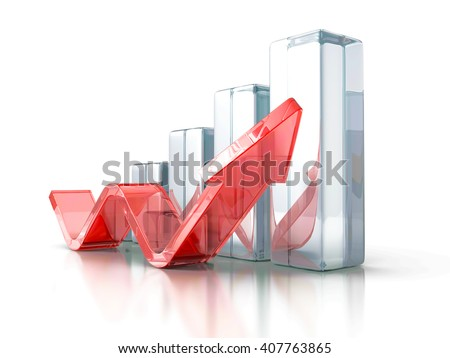 Business Graph With Rising Up Arrow. 3d Render Illustration - stock photo