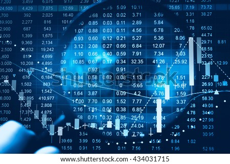 Business graph with tending. Stock market data on LED display concept. Stock Market Prices. Candle stick stock market tracking graph. Economical stock market graph.