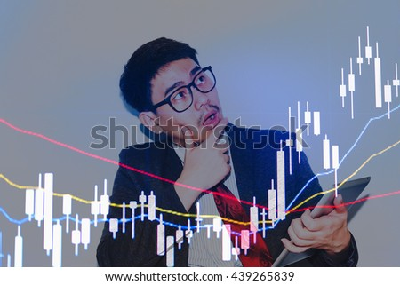 Business graph with tending. Stock market data on LED display concept.Stock Market Prices. Candle stick stock market tracking graph. Economical stock market graph. - stock photo