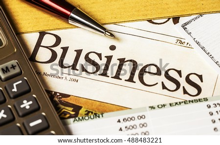 Business graphics and checkbook