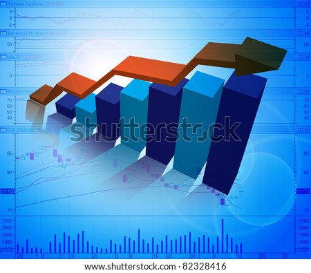 business graphs background, blue colors - stock photo