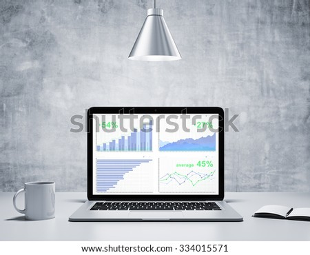 Business graphs on screen of laptop with coffee mug, diary in concrete room with silver lamp