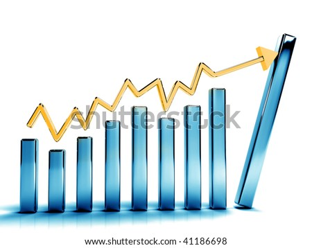 Business graphs showing growth isolated on white