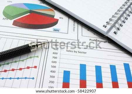 Business graphs with notebook and pen
