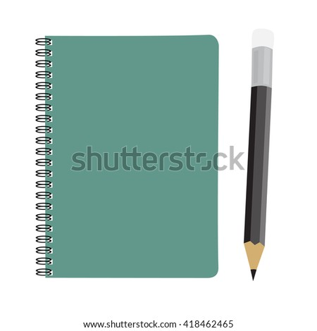business green note book and pencil set raster illustration