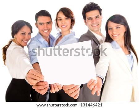 Business group holding a document - isolated over a white background - stock photo