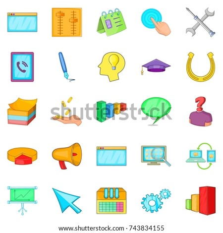 Business group icons set. Cartoon set of 25 business group  icons for web isolated on white background
