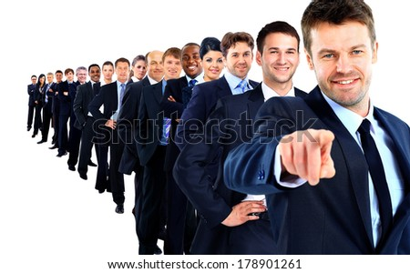 Business group in a row. leader pointing his finger at you