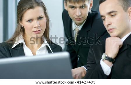 Business group meeting portrait (Business people working together) - stock photo