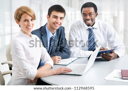 Business group meeting portrait - Business people working together. A diverse work group. - stock photo