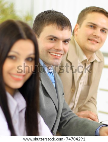 Business group meeting portrait - business people working together. A diverse work group - stock photo