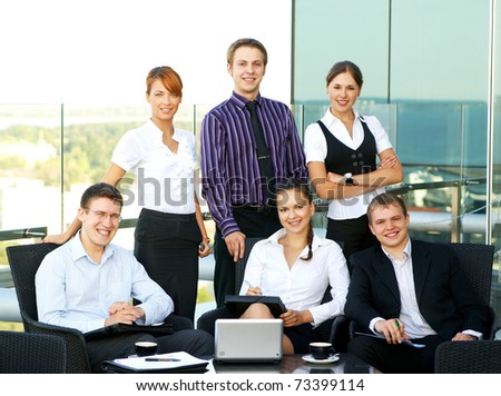 Business group of many different people in office at work - stock photo