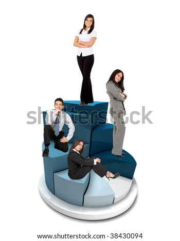 Business group on a pie chart isolated - stock photo