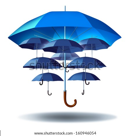 Business group protection and community security concept with a giant blue umbrella metaphor protecting multiple smaller umbrellas connected together in a social network to protect team members.