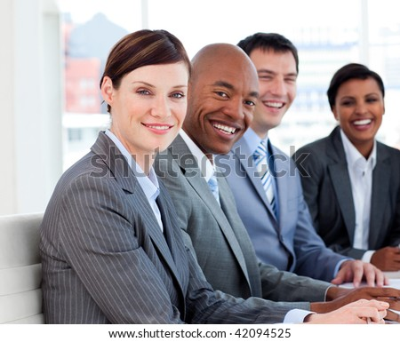 Business group showing ethnic diversity in a meeting. Business concept. - stock photo