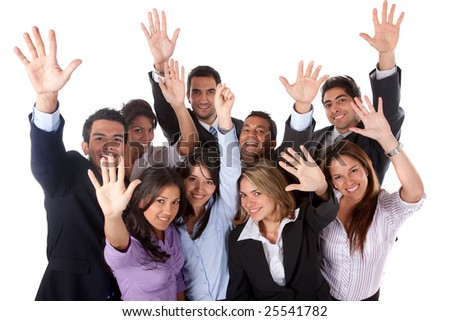 Business group with their hands in the air - isolated - stock photo