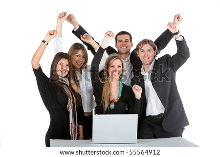 Business group working on a laptop isolated over a white background - stock photo