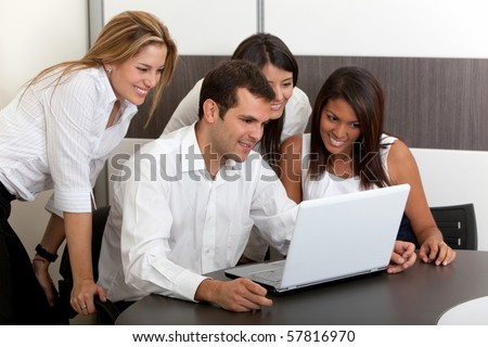 Business group working with laptop at the office
