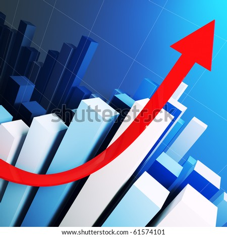 business growing stat and red arrow 3d background - stock photo