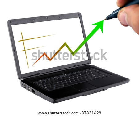 business growing statistics on laptop