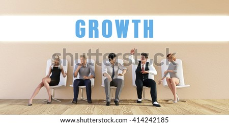 Business Growth Being Discussed in a Group Meeting 3D Illustration Render - stock photo