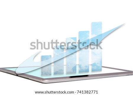 Business growth chart and word cloud with arrow on computer screen