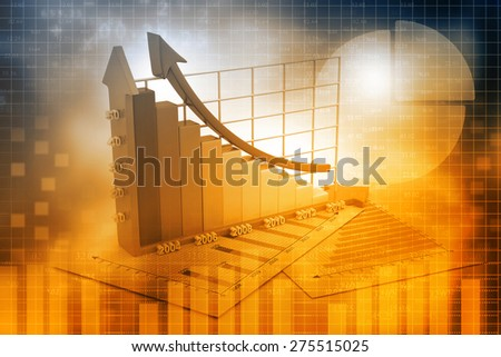 Business growth chart  background  - stock photo