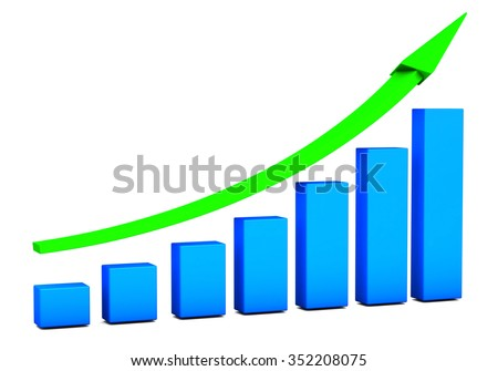 Business growth Chart bars on a white background