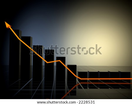 business growth chart made in 3d with special lighting effects