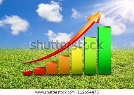 Business Growth Colorful Bar Diagram with red arrow on  green field with  blue sky - stock photo