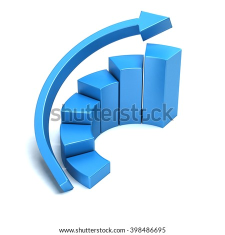 Business growth curved bars and arrow graph. 3D rendering illustration - stock photo