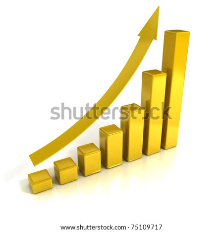 Business Growth - Golden Bars - 3D illustration. - stock photo