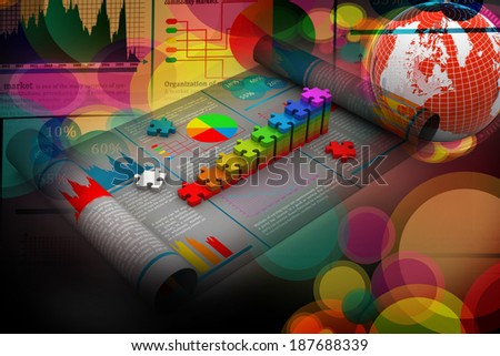Business growth graph and pie chart - stock photo