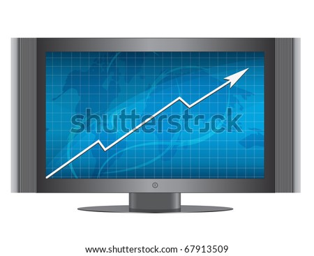 Business growth graph in monitor.